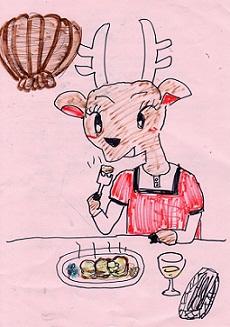 ホタテバターを食べるニホンシカ