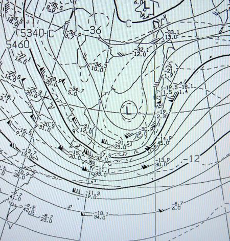 2012年4月3日21時の高層天気図(500hPa)