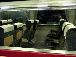 最後尾車両の半室グリーン車のシート