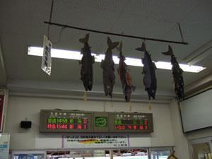 村上駅構内に飾られていた塩引き鮭の人形