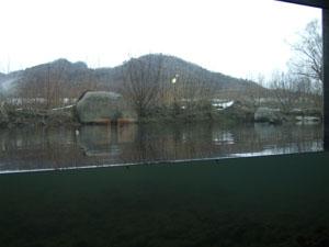 パノラマガラス越しに三面川を観察できる三面川鮭観察自然館