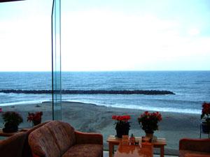 大観荘 せなみの湯のロビーから眺める日本海