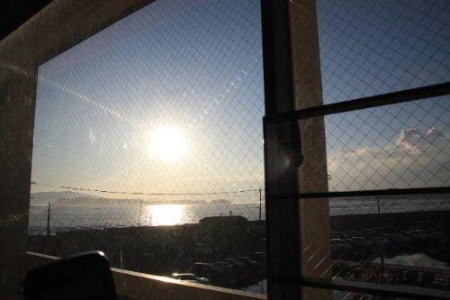 お部屋からの夕陽♪