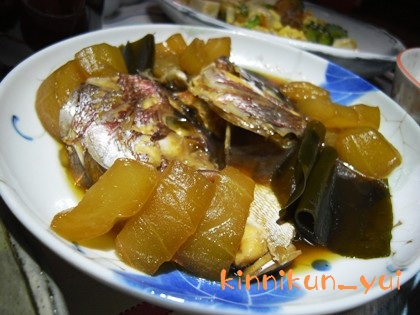 鯛のあら炊き(with青瓜)