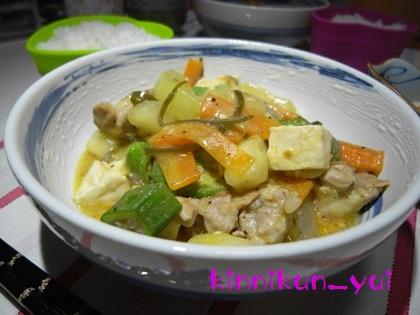 鶏肉と青瓜(など)のンブシー(味噌煮)