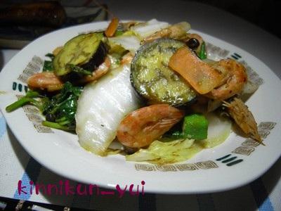 (殻付き)エビと野菜の炒め物