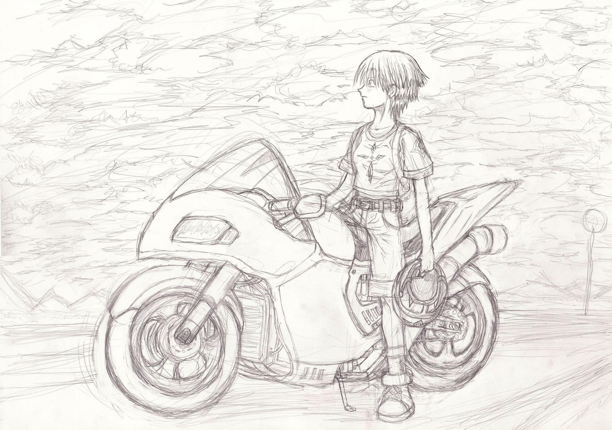 バイクのイラスト! 過去絵さらすシリーズ - よっぴげの紙粘土フィギュア
