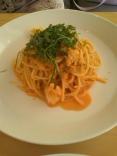 秋鮭のトマトクリームパスタ@Cafe Cible