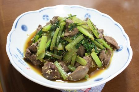 レバーと小松菜のスタミナ炒め