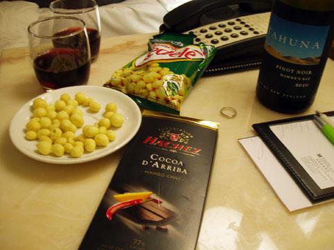ホテルで夜食