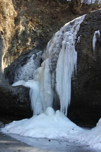 滝壺と繋がる水飛沫