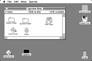 MACのGUI。発売当初から洗練されていた。