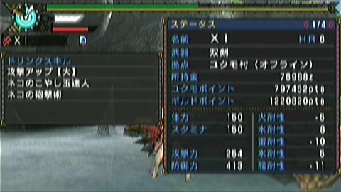 双剣×ジンオウガ(9分36秒)ステータス