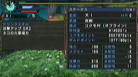 【MHP3】猫火事場双剣×ドボル(9分56秒) ステータス