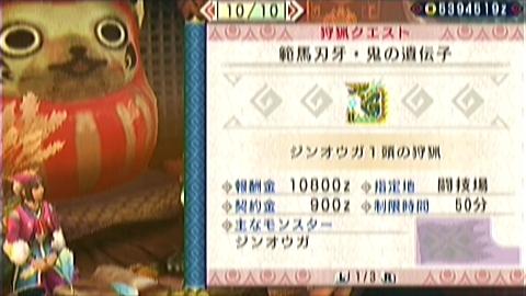 双剣×バキジンオウガ(10分59秒)クエ受注画面