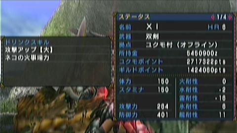 双剣×ジンオウガ(8分25秒)ステータス