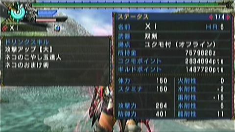双剣×ジンオウガ(7分23秒)ステータス