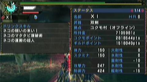 双剣×ナルガ原種(6分05秒)ステータス