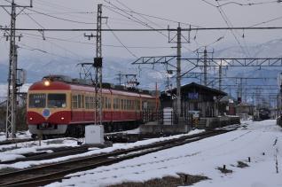 2011年1月29日 長野電鉄長野線 小布施 2000系D編成・2000系A編成