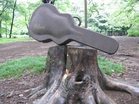 切り株の上にギター
