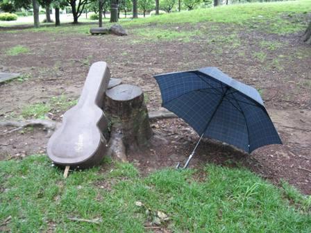傘とギターと切り株
