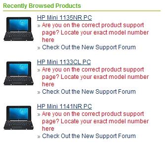 HP Mini 1100シリーズ、1133CL、1140NR、1135NR、1141NRが英語サイトに公開