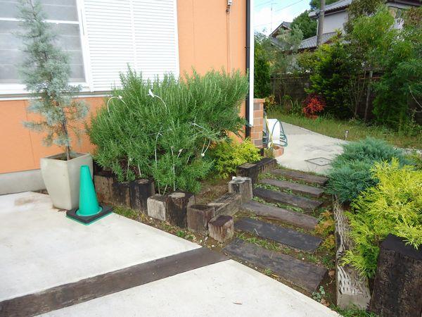 枕木花壇・階段施工前