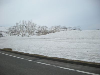 知床横断道路 雪の壁