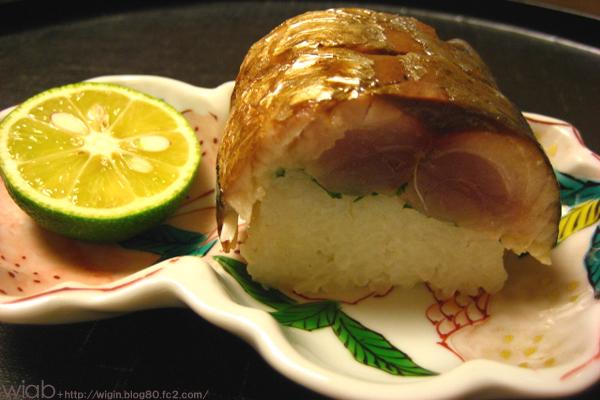 鯖寿司。 ちょっと炙った香ばしい感じが絶品だった。。