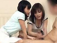 2人のお姉さんに、めっちゃ間近でビンビンのチンポををガン見されながら、センズリ見せと淫語責め手コキでGo to Heaven!!!なCFNM動画(´Д`)(pornhost)