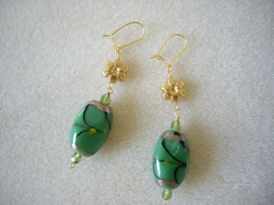 green chinese beads earrings