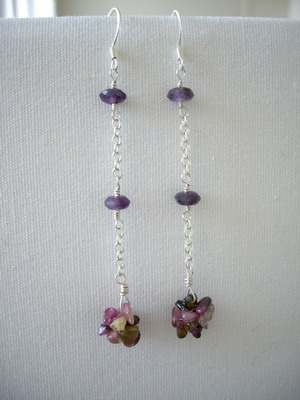 tourmaline & amethyst earrings