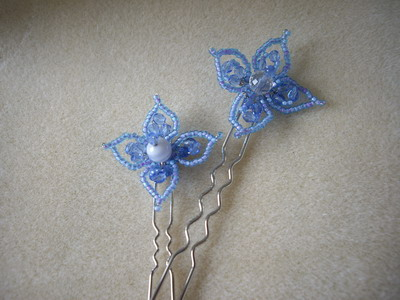 blue flower hair stick
