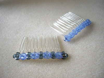 a set of blue hair comb
