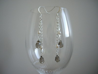 gray drop shape stone chain earrings