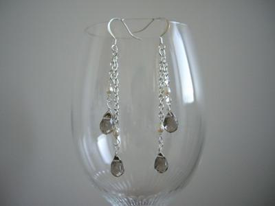 gray drop shape stone chain earrings