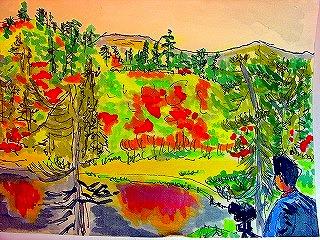水彩紅葉大雪高原沼