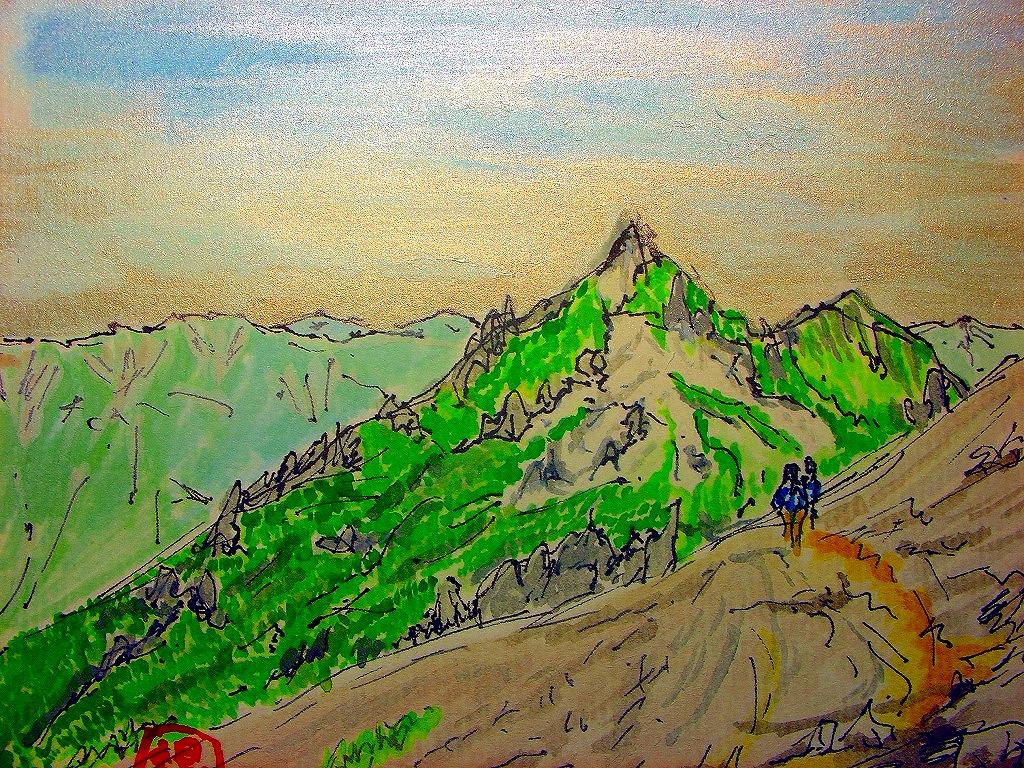 水彩燕岳山頂