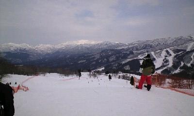 スキー山頂今から滑ります