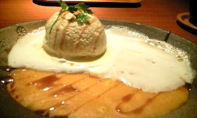 かぼちゃプリンとアイスクリーム