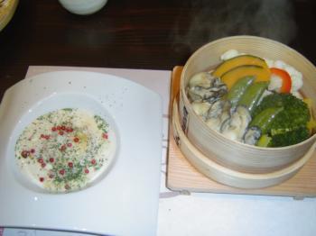 牡蠣と温野菜
