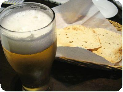 生ビール+パパド
