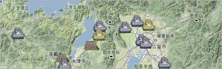 日本のお城地図