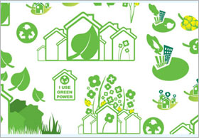 緑の統一された自然系アイコン