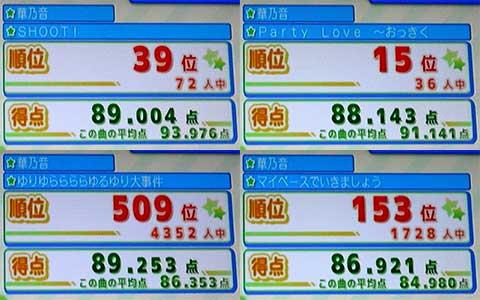 【うたスキ】『SHOOT!』(左上)、『Party Love ~おっきくなりたい~』(右上)、『ゆりゆららららゆるゆり大事件』(左下)、『マイペースでいきましょう』(右下)