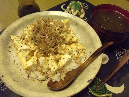 1くずし豆腐とちりめん山椒ごはん定食