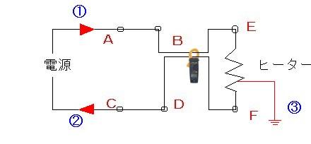 ヒーター電流測定クランプ漏れ電流説明