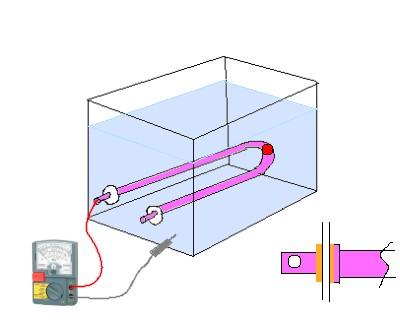 水槽とヒーター01漏電水入測定中